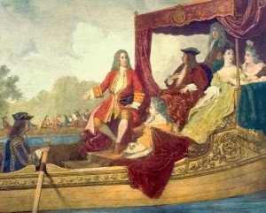 George Frederick Handel (left) and King George I on the Royal Barge